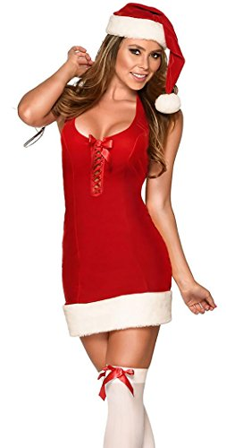 IF FEEL Womens Sexy Santa Sweetie Baby Halter Dress Costume (one size, (Mr Grinch Costume)
