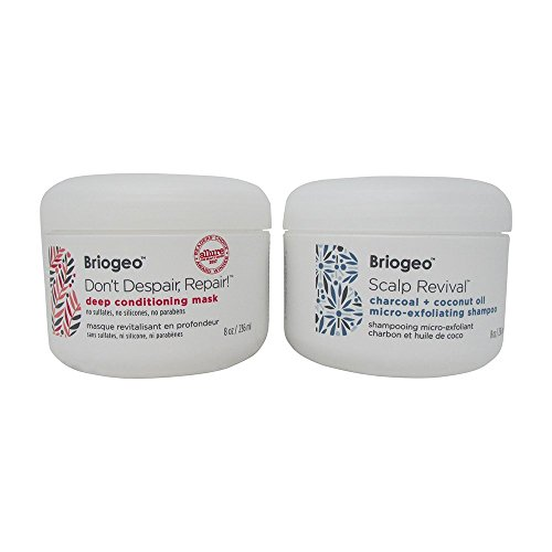 Bundle - 2 Items : Briogeo Scalp Revival Charcoal + Coconut Oil Micro-exfoliating Shampoo, 8 Oz & Briogeo Don't Despair, Repair Deep Conditioning Mask, 8 Oz