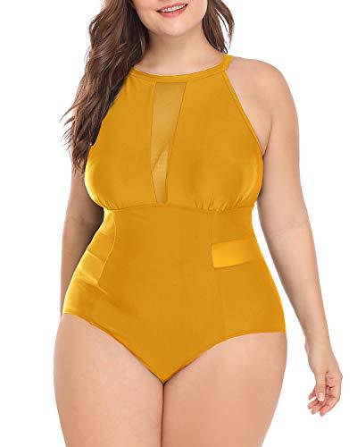 Women One Piece Plus Size Swimwear High Neck V-Neckline Halter Mesh Swimsuit Bathing Suit (XL(US 16), Yellow)
