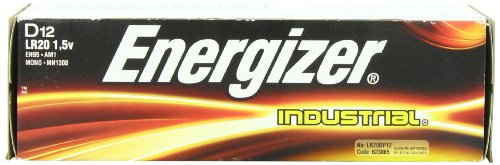 Energizer D Alkaline Industrial Batteries1.5v, Box of 12 (Industrial Alkaline Batteries)