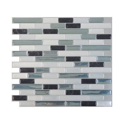 Mosaik High-Gloss Mosaic in Gray & Blue (Set of 6) by Smart Tiles