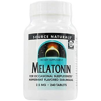 Source Naturals Melatonin, 2.5 Milligrams, Peppermint Flavored, 240 Lozenges