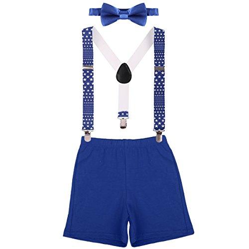 Baby Tuxedo Pajamas (Baby Boys First Birthday Adjustable Y Back Elastic Clip Suspenders Cake Smash Outfit Tuxedo Pre-tied Bloomers Bowtie set Z# Royal)