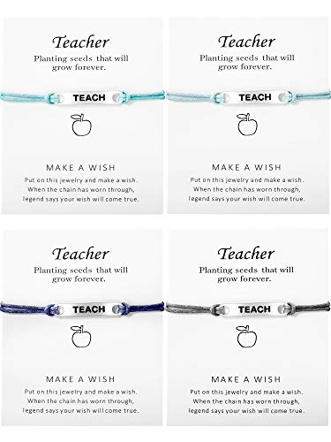 meekoo 4 Pieces Teach Blessing Card Bracelets Greeting Bracelet Card Teach Blessing Bangles Teacher's Day Gift