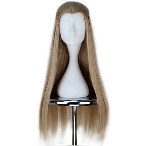 [Miss U Hair Long Straight Men Ash Blonde Hair Braid Movie Halloween Cosplay Wig C171] (Legolas Wig)