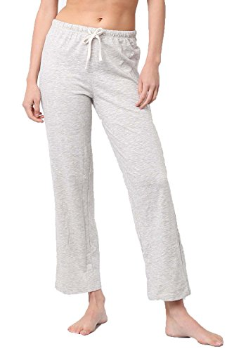Melody Women's Lightweight Soft Comfy Straight Pajama Lounge Long Pants with Front Tie (Oatmeal, Large)