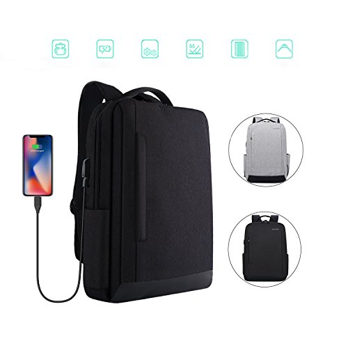 Laptop Backpack,BQZYX+ School Backpack with USB Charging Port Fits 15.6 inch Laptop, Water Resistant Travel Computer Backpack for College Student & Women & Men(Black) -