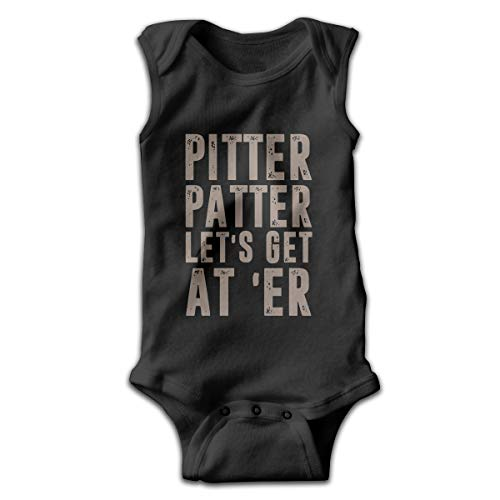 Mrshelp Pitter Patter LetterKenny Sleeveless Baby Girls Jumpsuit Cute Romper Summer Bodysuits Black ()