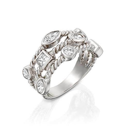 Paz Creations ♥925 Sterling Silver Cubic Zirconia Triple Row Band Ring (Triple Band Thumb Ring)