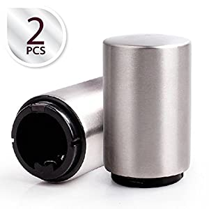 Zap Bottle Opener - Most Innovative Bottle Opener with Magnetic Cap Catcher | Premium Nontoxic Stainless Steel | Set of 2 | Silver | 697.2