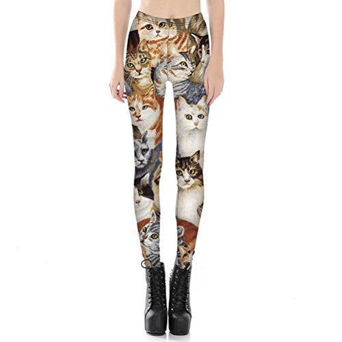 Womens Hot Sale Tigher Printed Yoga High Waist Leggings Pants Plus Size (L, Cute Cat) by Searchself