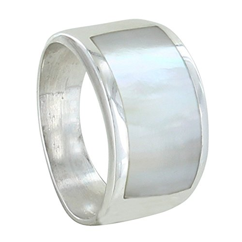 Les Poulettes Jewels - Sterling Silver Wide Ring and Mother of Pearl Rectangle - Size 6