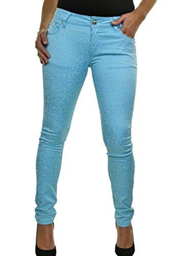 ICE (1520-3) bajo la cintura de los pantalones vaqueros extensible muy en forma Efecto terciopelo en relieve de la turquesa