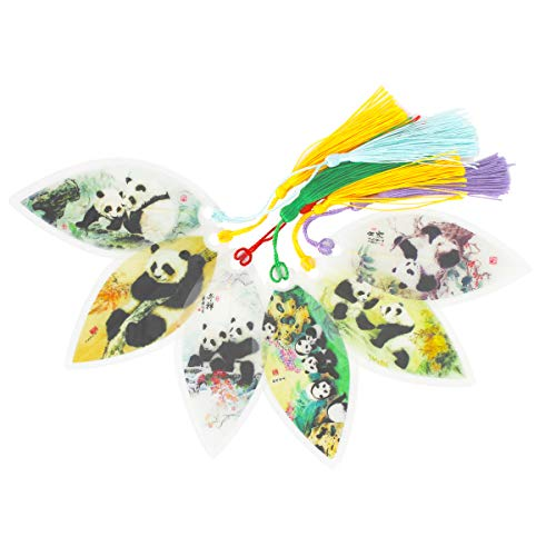 6 Pieces Handmade Leaf Vein Bookmarks with Tassels Chinese Paintings Panda Best Gift for Your Friends Kids Student Souvenirs Business Gift Christmas Gift Birthday Gift
