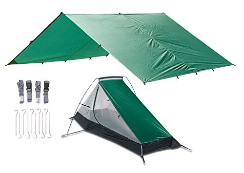 Aqua Quest WEST COAST Bivy Combo - 100% Waterproof Camping Shelter Kit Ultra Light Tarp 10x13 and Tent, Peg Stakes, Compression Straps, Stuff Sack