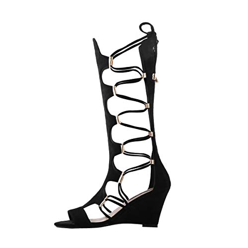 Onlymaker Womens Lace Up Gladiator Wedge Sandal Boots Fashion Sexy Cutout Mid Calf Back Zipper Sandals for Party Dress Spring Summer Black 9 M ()