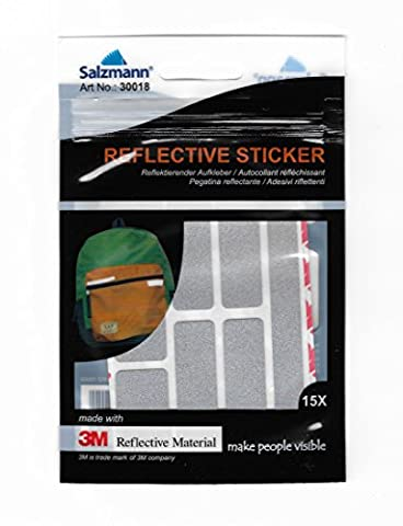 Salzmann 3M Scotchlite Reflective Sticker, Silver, 2 sheets (2.8-inch x 3.8inch) contains 15 small cutted pcs in different