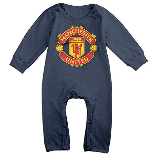 Baby Boys Girls Manchester United Football Club Long Sleeve One-piece Baby Bodysuit Baby Clothes Bodysuit Romper ()