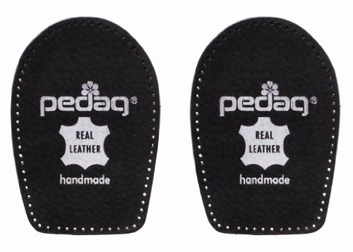 Pedag Perfect Shock Absorbing Heel Pads Made with Vegetable Tanned Leather and Latex Rubber, Black, Small (5 to 7L)