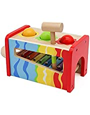 Pidoko Kids Pound & Tap Bench with Slide Out Xylophone - Toddlers Musical Pounding and Hammer - Wooden Educational Pound a Ball Toy