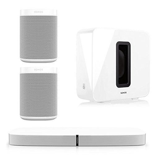 Sonos 5.1 PLAYBASE Home Theater System with Sonos ONE Streaming Speakers (Pair) and SUB Wireless Subwoofer - Stand Home Theater Credenza