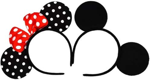 Mickey Mouse Ears Solid Black and Bow Minnie Headband for Boys and Girls Birthday Party or Celebrations Set of 2