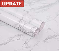 Color: White/Gray Faux Marble Contact Paper Material: Vinyl Contact Paper Roll Size: 24 x 118in = 19.3sq.ft (by feet), 3m x 0.6m = 1.8sq.m (by meter) Usage: Wall decoration, cabinets and drawers, counter tops, bookshelves, closet shelving, an...