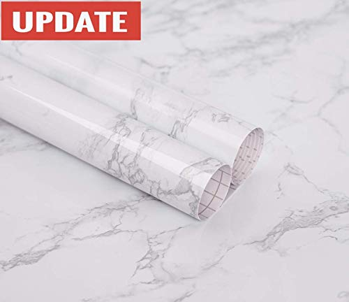 practicalWs Marble Contact Paper Granite Gray/White Roll Kitchen countertop Cabinet Furniture is renovated Thick PVC Easy to Remove Without Leaving Marks Upgrade (24