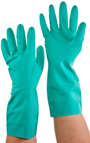 Lined Flock Green (Magid RSF18T Comfort Flex 18 Mil Flock-Lined Diamond Grip Nitrile Gloves, Large/Medium)