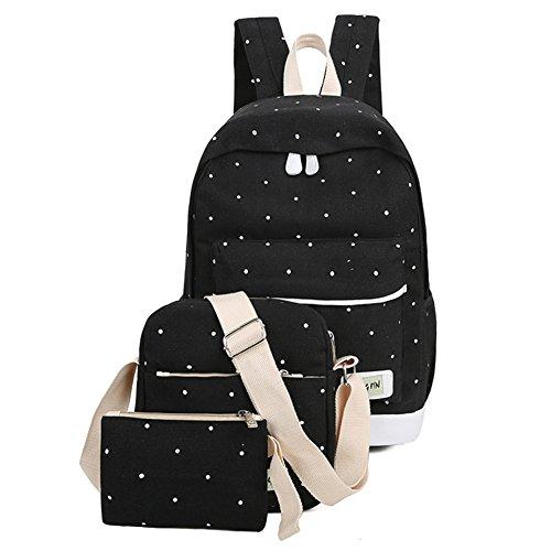 Espeedy Mochila de la escuela,3pcs Las mujeres de lona fresca mochila chica grande libro de estudiantes bolsa con monedero portátil conjunto bolsa de alta calidad de la escuela de las señoras bolsa negro