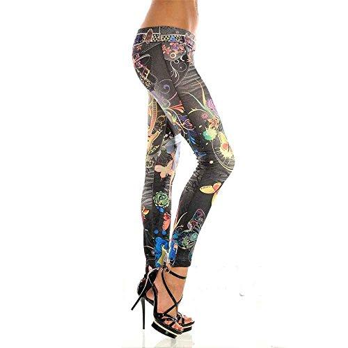 Negro Estampado Cintura De Lápiz Imitación Mujer Mezclilla Pantalones Pintado Alta Leggings Lhwy xHOpwgOPq