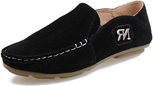 LIYZU Boy's Classic Loafers Suede Slip-On Dress Uniform School Shoes US Size 13 Black - Classic Suede Loafers