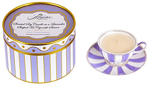 Tea Cup and Saucer, Candle, Candles, Scented Soy Candle, Lavender Striped Tea Cup with Saucer, Tea Cup, Tea, Tea cups and saucers sets, Scented Candle, Gift Idea, Classic Vanilla Scent