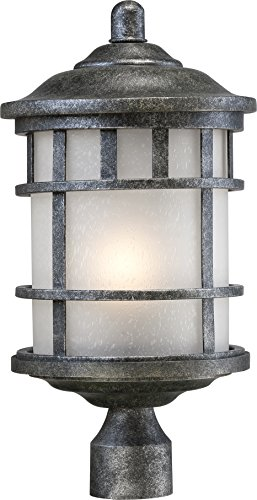Nuvo Lighting 60/5635 Manor Industrial Post One Light Lantern 100-watt A19 Outdoor Porch and Patio Lighting with Frosted Seed Glass, Aged (Aged Silver 1 Light)