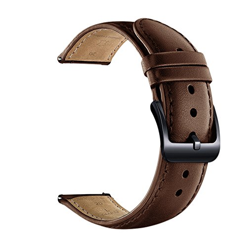 Aresh for Samsung Gear Sport Band, 20MM Genuine Leather Bands for Gear Sport Smartwatch SM-R600 /Gear S2 Classic/ Garmin Vivoactive 3 (Brown) Photo #2