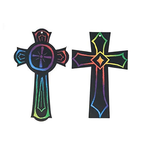 50 Scratch Art Cross Ornament Craft Kit - Easter Crafts for Kids (Bulk)