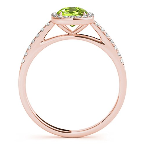 1.10 Ct. Ttw Diamond And Cushion Shaped Peridot Ring in 10K Rose Gold