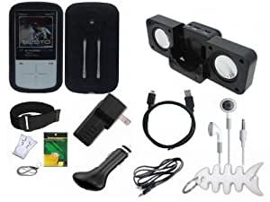 Premium 12 Items Accessory Bundle for Sandisk Sansa Fuze+ Plus: Black Silicone Skin Case , USB 2in1 Data Sync Cable, USB Car Charger, USB Wall / Travel / AC Adapter Charger, Portable Foldable Speaker Dock, Adjustable Armband, Belt Clip, Lanyard, Screen Protector, 3.5mm~3.5mm Audio cable, 3.5mm White In-Ear Stereo Headset, Fishbone style Keychain