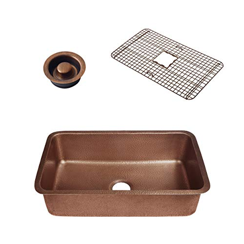 - Sinkology SK202-30AC-WG-D Orwell Grid and Disposal Flange Copper Kitchen Sink, Antique