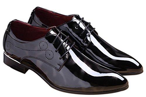 Black Dress Shoes for Men Pointed Toe Floral Patent Leather Lace Up Oxford Santimon Black 10.5 D(M) US