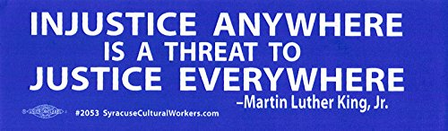 """Price comparison product image Injustice Anywhere Is A Threat To Justice Everywhere - Small Magnetic Bumper Sticker / Magnet Decal (5"""" X 2"""")"""