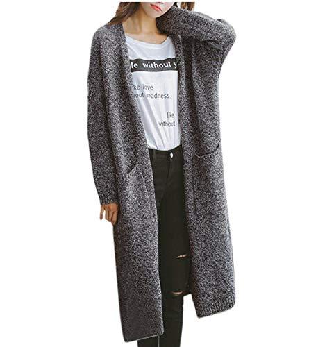 Giovane Elegante Moda Top In Outwear Manica Invernali Autunno Maglia Tasche Scuro Maglione Cappotto Anteriori Lunga Ragazza Donna Lana Scavare Baggy Grigio ZwBnq4
