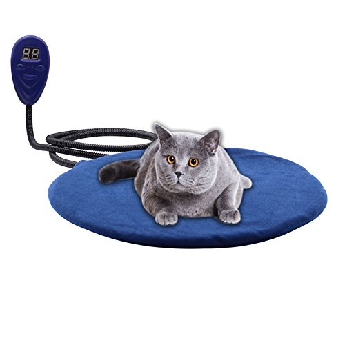 Outdoor Heated Cat Bed (Pet Bed Warmer Aiicioo Pet Heating Pad for Dogs Cats Keep Your Pet Cozy and Safe Chew-proof Wire and Low Voltage Adapter Used by Itself or Added to Pet Bed (Round 12