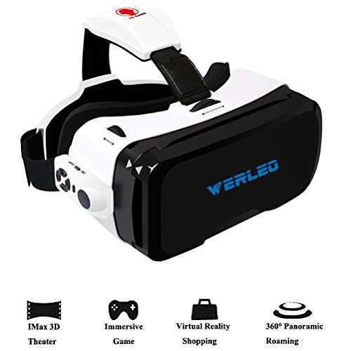 "3D VR Glasses,Werleo 360° 3D Virtual Reality Headset Video Games 3D Movies Glass w/ Bluetooth Remote Controller Goggles Cardboard VR Box for iPhone 7 plus 6s 6 Samsung Galaxy (4.0""- 6.0"" Smartphone)"