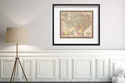 1853 Map|World Atlas of The State of Texas|Historic Antique Vintage Reprint|Size: 20x24|Ready to Frame ()