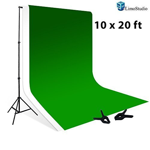 LimoStudio 10' x 8.5' Background Stand Backdrop Support System Kit + 10' X 20' 100% Cotton Green Chroma Key Muslin Backdrop + 10' x 20' 100% Cotton White Muslin Backdrop Background, AGG269V2 - Chroma Key Background Support