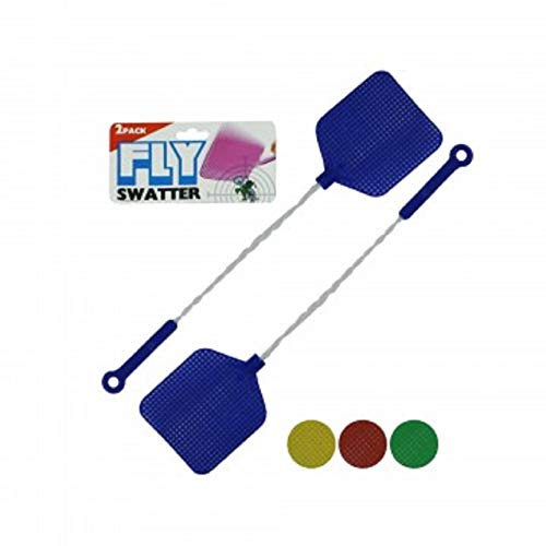 bulk buys Fly Swatter with Wire Handles 2 Pack, Assorted Colors -