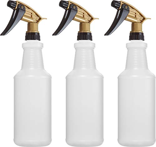 Bar5F Empty Plastic Spray Bottles 32 oz, Chemical Resistant, Professional, Heavy Duty, Fully Adjustable Head Sprayer, Pack of 3 (Black/Gold)