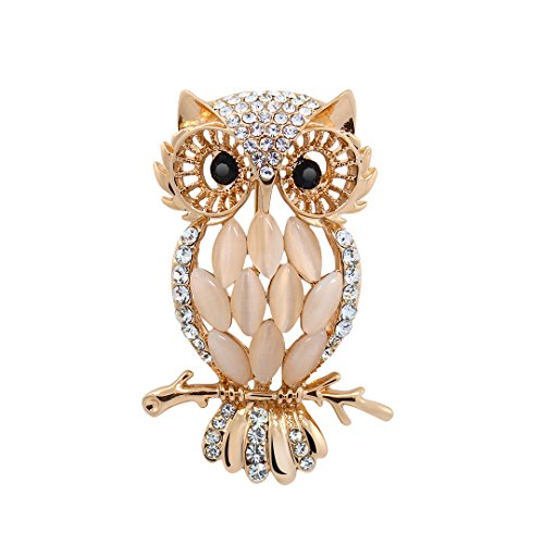 Multifit Classic Rhinestone Crystal Elegant Owl Design Party Brooch Pin Wedding (Crystal Owl Pin)