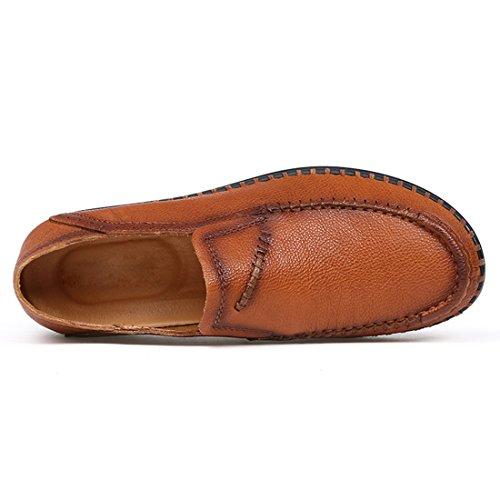 Tda Heren Lage Lederen Business Jurk Loafers Stiksels Werk Kantoor Schoenen Bruin